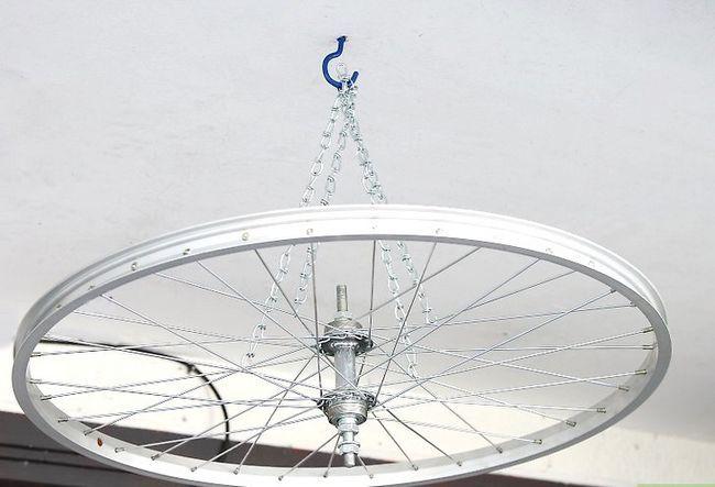 चित्र शीर्षक में एक पॉट रैक चरण 9 के रूप में एक साइकिल टायर फ़्रेम का उपयोग करें