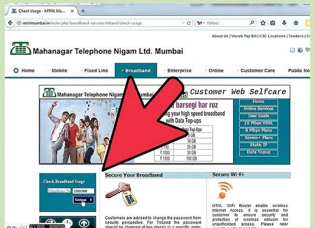 एमटीएनएल चरण 6 में इंटरनेट डेटा उपयोग की जांच करें